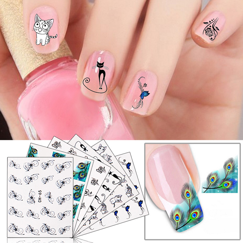 ₪6pcs Nail Art Stickers 3D Water Transfer Mixed Pattern Flower ...