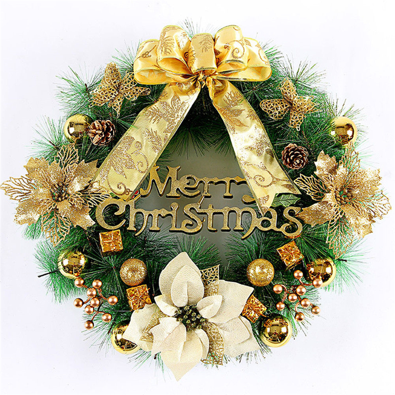 Wreaths Home Garden Store 40cm Decorated Wreath Door Decoration Christmas Hanging Decor Gold
