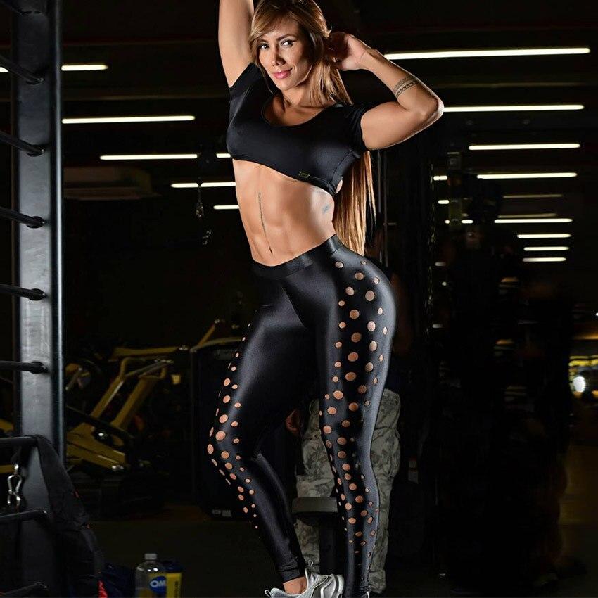 Novas Mulheres Chegada Leggings Esportivos Dot Oco Preto Treino de Fitness Legging