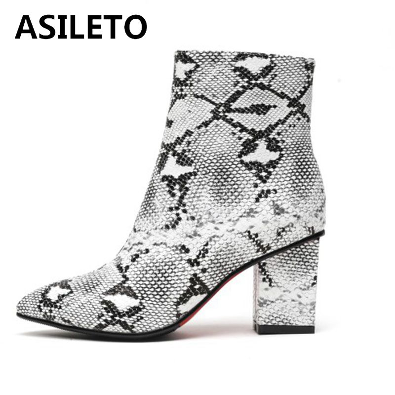 ASILETO snakeskin boots for women ankle boots heels wedding pu leather pointed stieilettos high heels bottines