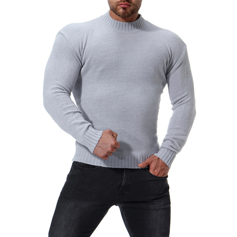 2018 Autumn And Winter New Men's High Collar Slim Bottoming Shirt Men's Solid Color Sweater Color Black / White / Light Gray