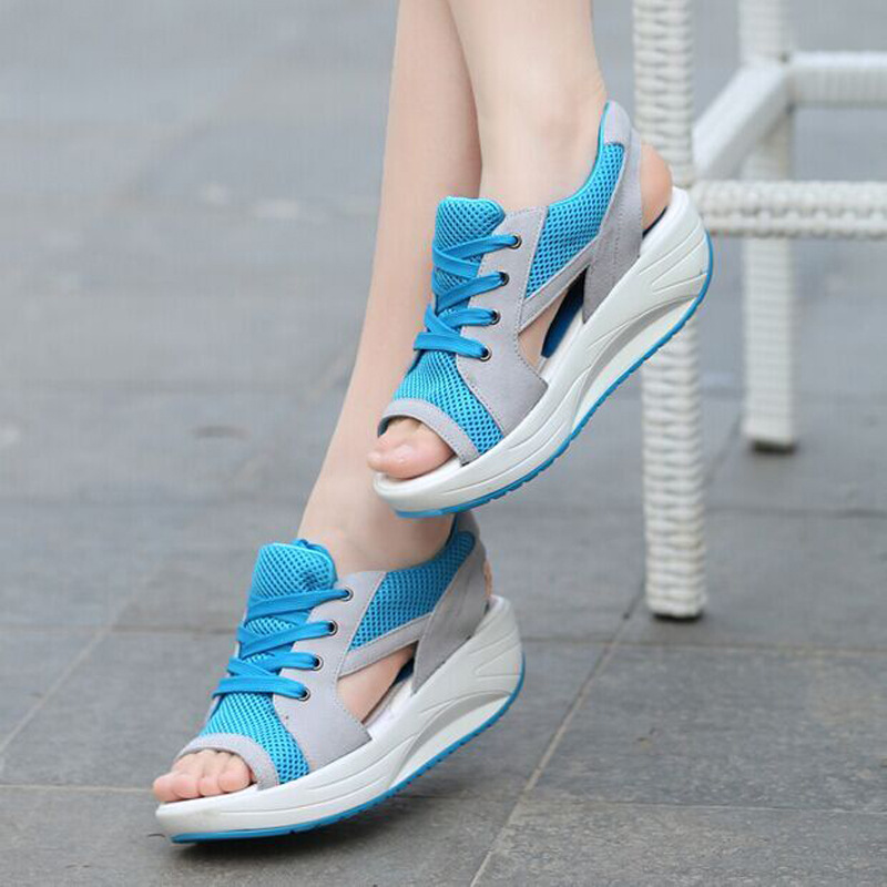 Platform Sandals Wedge Casual-Shoes Open-Toe Women Thick-Bottom Lace-Up Mesh Breathable-Mesh