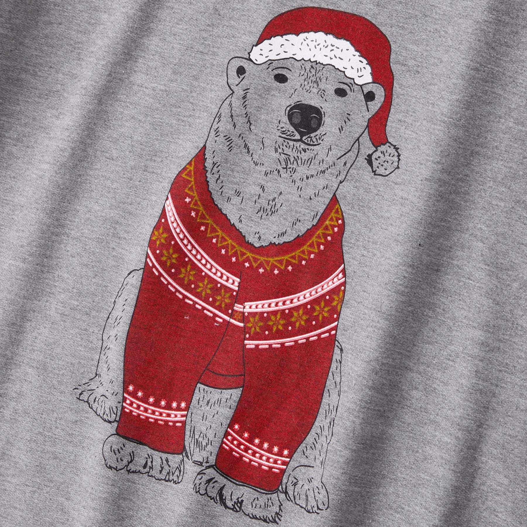 Christmas Bear ยาวลายสก๊อตครอบครัวเสื้อฤดูใบไม้ร่วงสบายๆการ์ตูนการ์ตูนเด็ก
