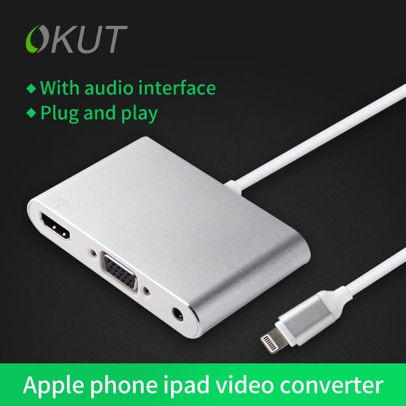 OKUT Lightning To HDMI VGA Audio Adapter For Iphone5/5s/5c/6/6s/6 Puls Ipad Pro 9.7ipad Air2 Ipad Air Free Shipping