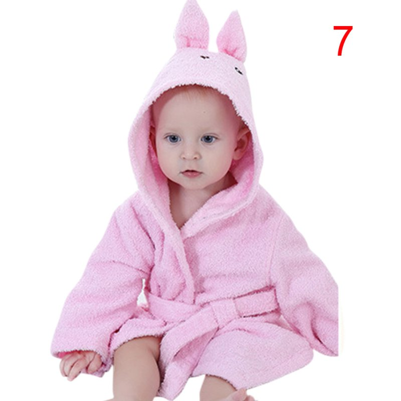 Baby Cute Hooded Bathrobe Plush Bath Robe Baby Hooded Towel Blankets Bath Robes for Infant and Toddler