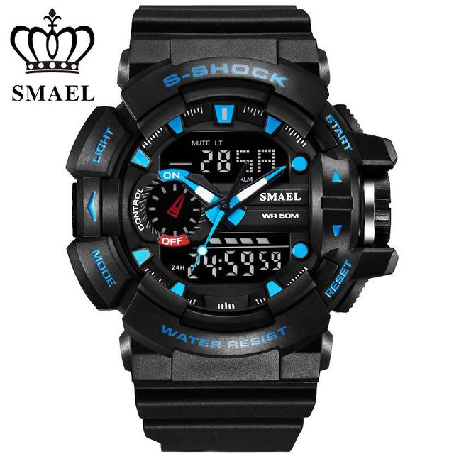 Casual Watch Men Luxury Brand Clock SMAEL Quartz Military Sport Watch Rubber Men's Wristwatch relogio masculino,