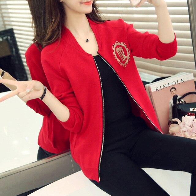 Baseball uniform women spring autumn loose long-sleeve zipper sweater female  No cap casual Letter a90e2de8b
