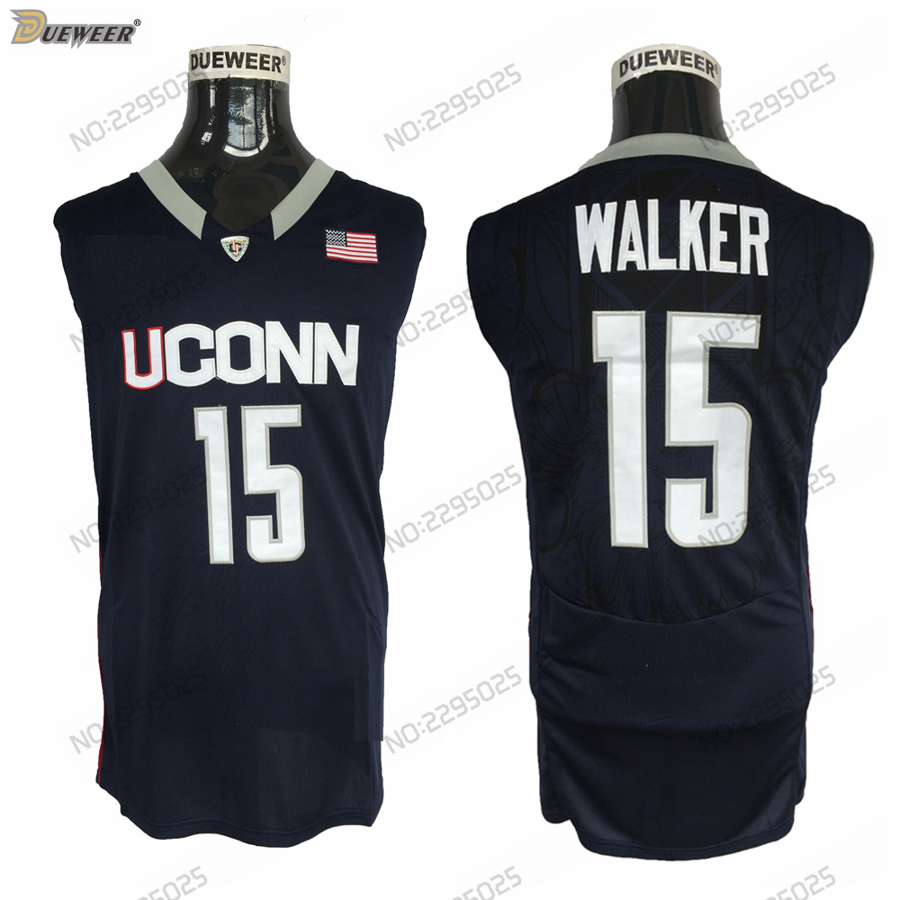 693fda8d9032 Detail Feedback Questions about DUEWEER Mens Throwback Uconn Huskies Kemba  Walker College Basketball Jerseys Navy Blue 15 Kemba Walker Stitched Basket  ...