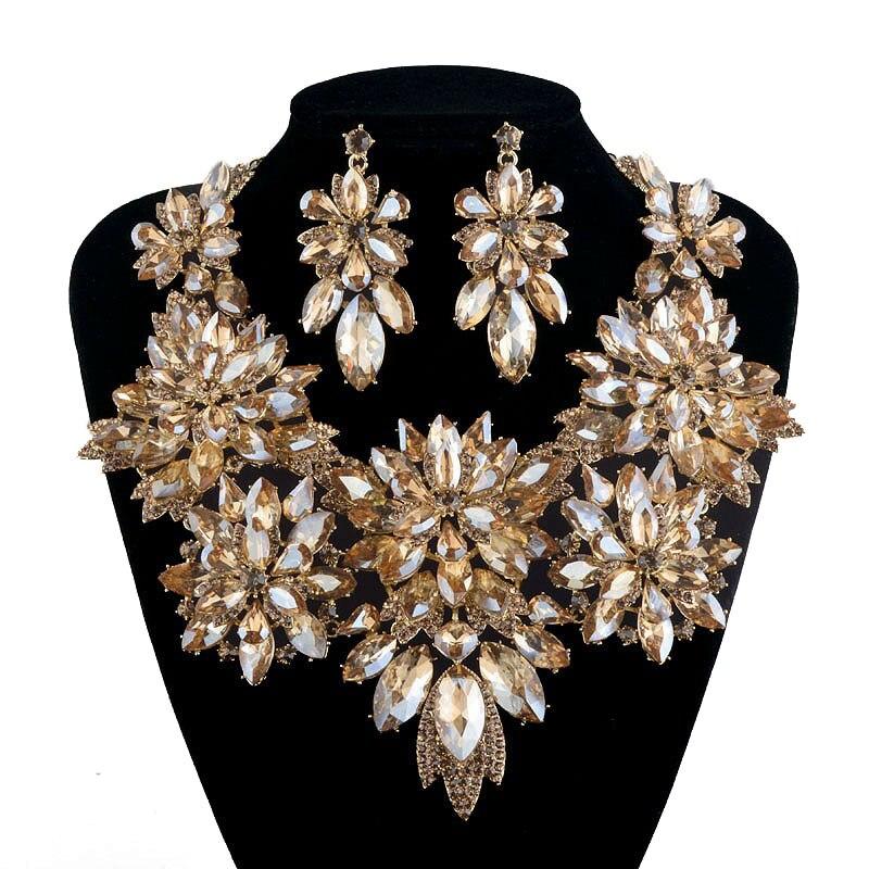 Свадебное себе комплекты ювелирных изделий горный хрусталь кристалл ожерелье цвета шампанского для женщин праздничное платье аксессуары ювелирные изделия