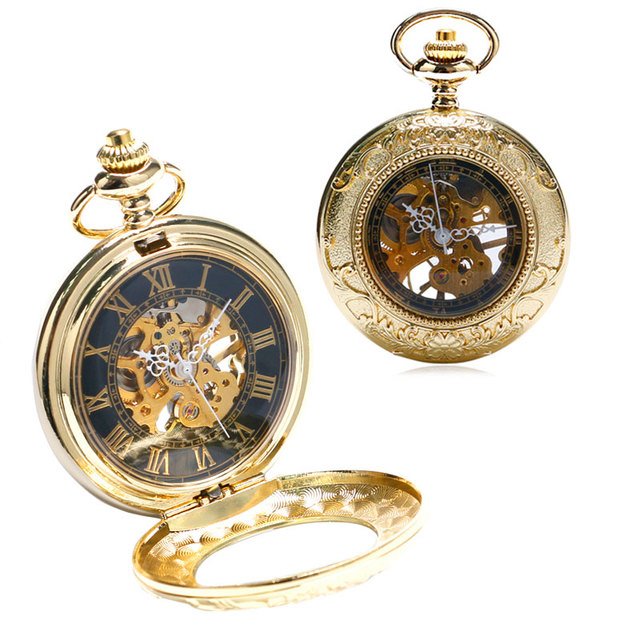 Luxury Golden Mechanical Hand Wind Pocket Watch Men Women Gift Skeleton FOB Watc
