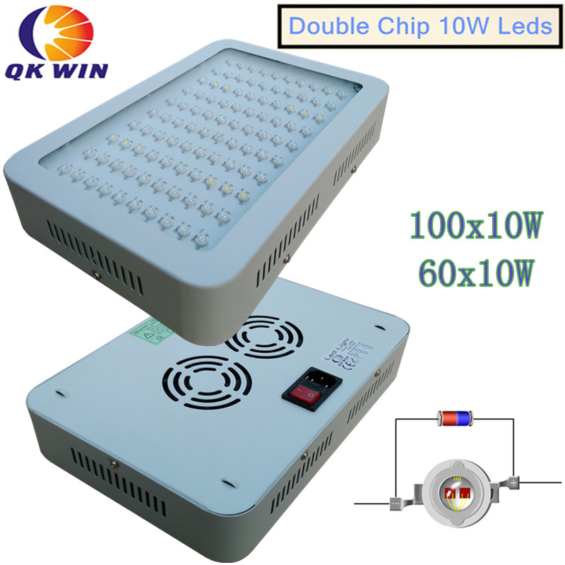 Qkwin New Design 600W/1000W/1600W/2400W LED Grow Light 100X10w Full Spectrum 410-730nm For Indoor plants' grow and Flowe