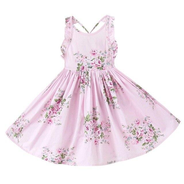 Новинка 2017 летние для маленьких девочек платье с цветочным рисунком Детские хлопковые длинные платья платье Выпускные платья детская одежда Бесплатная доставка