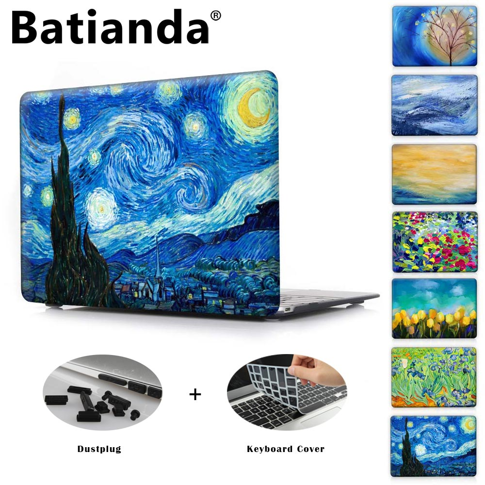 Crystal Macbook Pro Case Mac Baseus Air Series 13 Inch 2016 Transparent Clear Hard Starry Night Oil Painting Sleeve For 11 12 15 Retina