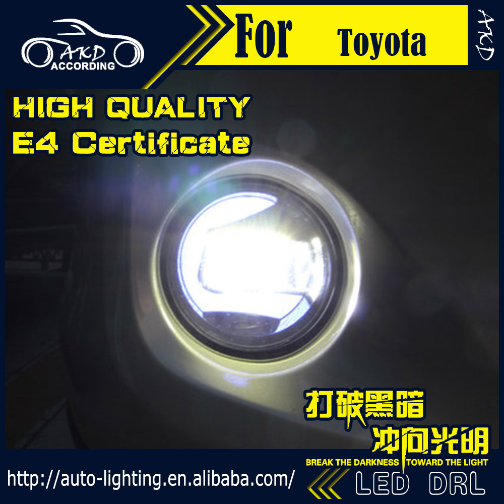 AKD Car Styling for Toyota Land Cruiser LED Fog Light Fog Lamp LED DRL 90mm high power super bright lighting accessories car styling abs chrome door body mouldings protection liner garnish covers strip 4pcs for toyota land cruiser lc200 2008 2017