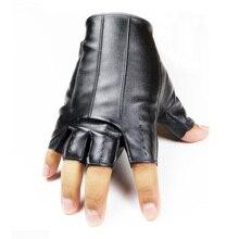 1Pair Men Women Short Leather Gloves Half Finger Fingerless Dance Stage Driving