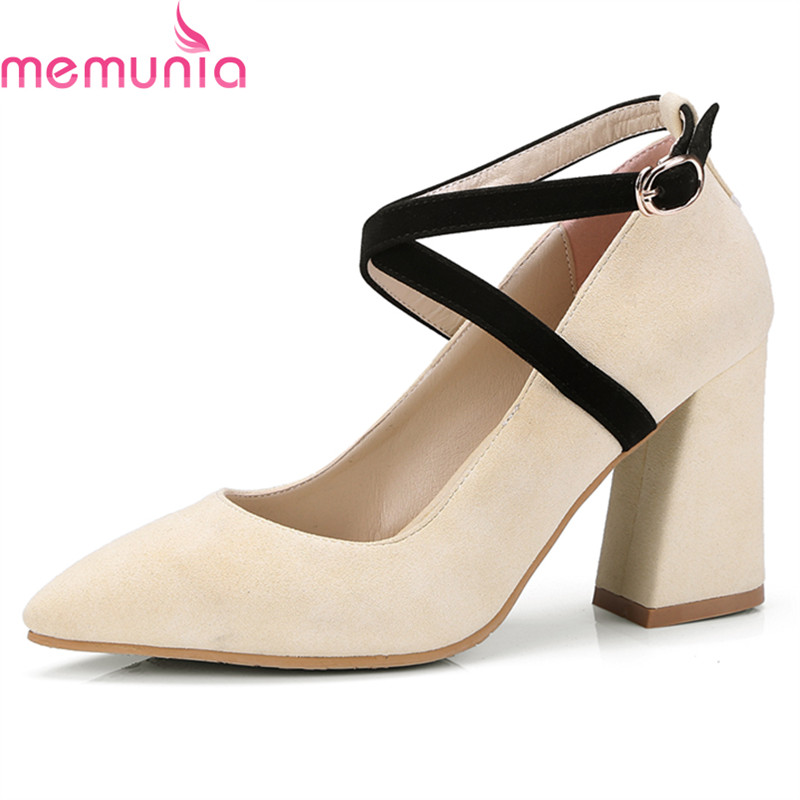 MEMUNIA new fashion high qulaity women pumps thick high heels pointed toe buckle sweet black yellow party shoes spring autumn memunia flock pointed toe ladies summer high heels shoes fashion buckle color mixing women pumps elegant lady prom shoes