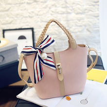 2016 New Korean Fashion Color Picture Package Strap Shoulder Messenger Bag Ribbon Bow Handbag Large Capacity+Coin Purse