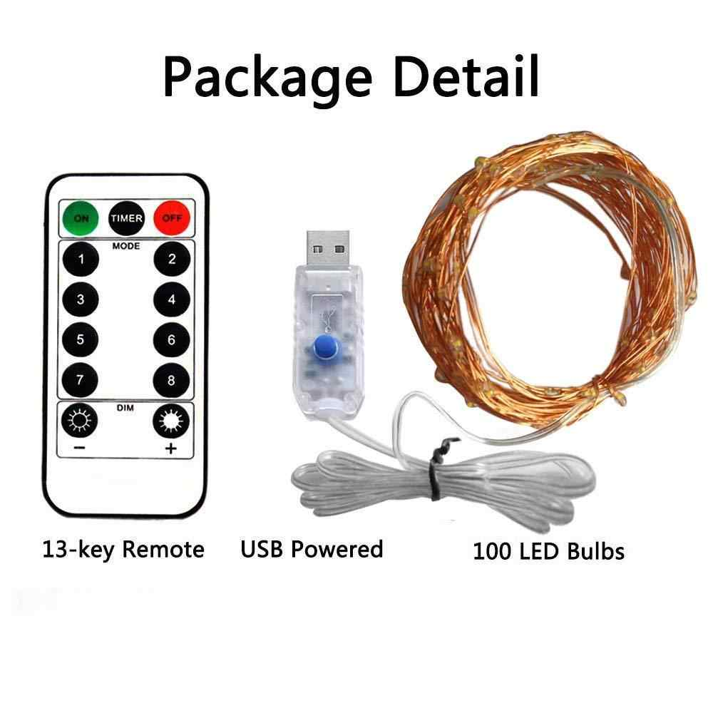 5M 10M 8 Mode Remote Control Dimmable USB Powered LED Silver Gold Copper Wire String Lights Decor Christmas Fairy Garlands Light
