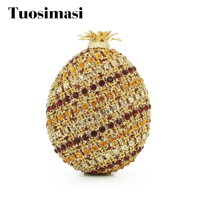 Pineapple Luxury crystal Clutch Bags Bling Rhinestone Evening Bags Gold Women Evening Clutch Bags Party Bag Handbags(88191A-G) luxury crystal clutch bags uk hot sale pillow shaped white pearl clutch handbags for cheap women crystal evening bag with chain