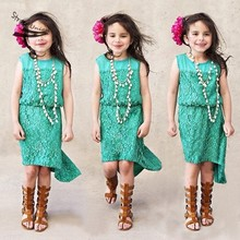 New 2016 Summer Baby Girls Dress Kids Sleeveless Lace Spliced Girl Lace Dresses Green Bohemian Kids Birthday Party Cloths