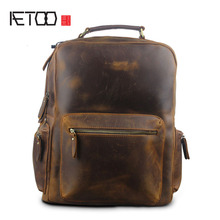AETOO Autumn and winter new men and women Europe and the United States retro crazy horse leather men bag large  backpack travel aetoo imports of hand color tannery europe and the united states men retro to do the old messenger bag