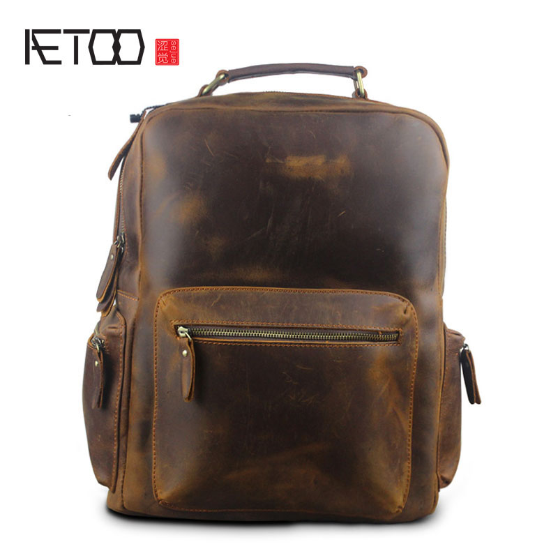 AETOO Autumn and winter new men and women Europe and the United States retro mad horse men bag bag backpacktravel men hat europe and the united states fashion leather simple autumn and winter wild baseball cap out fashion hot sale