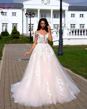цена на Waulizane Off The Shoulder Sleeves A-Line Wedding Dresses Deep Boat-Neckline With Floral Print Sleeveless Wedding Gown