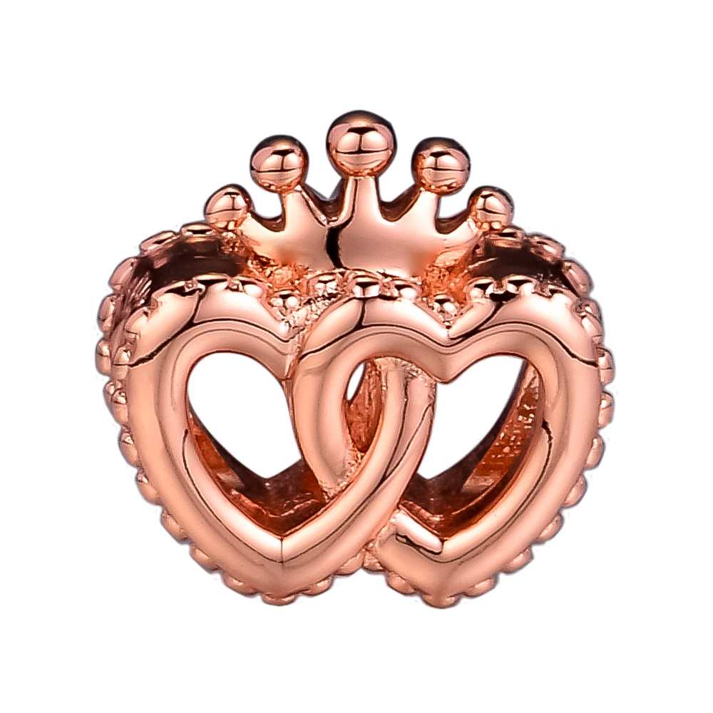 United Regal Hearts Charm Fit Charms bracelet Rose Gold original Jewelry Woman DIY Beads For Jewelry Making