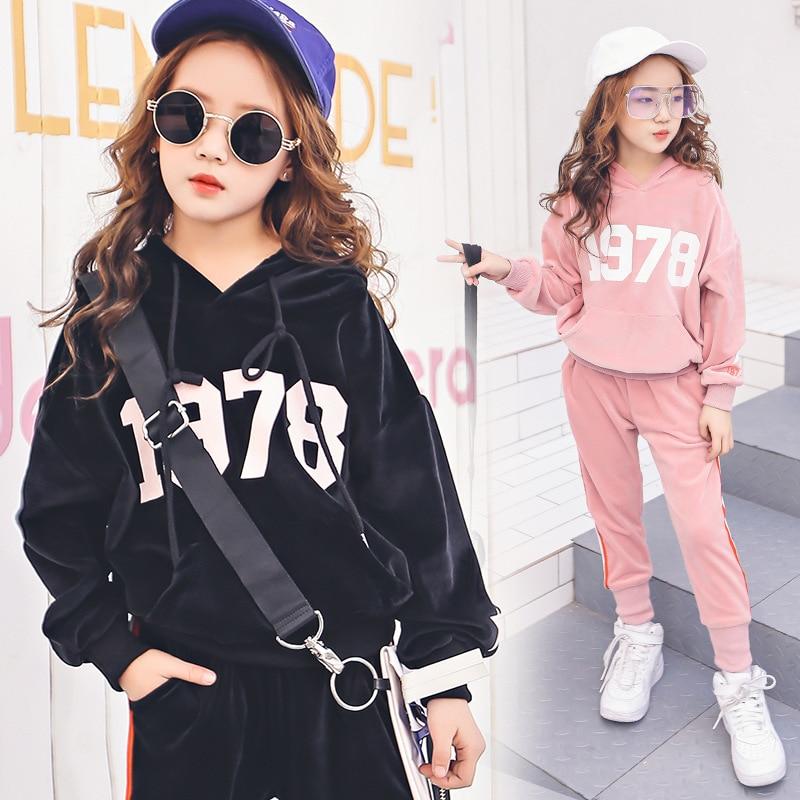 Teen Girls School Tracksuit 2018 New Velvet Long Sleeves -3939