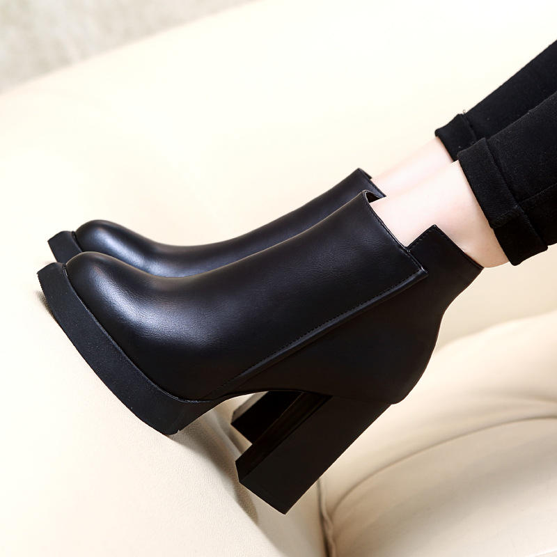 European Spring High Heel 8cm Superstar Shoes Leather Upper Ankle Boots for Women Zipper Pointed Toe High Boots Black Boot Women