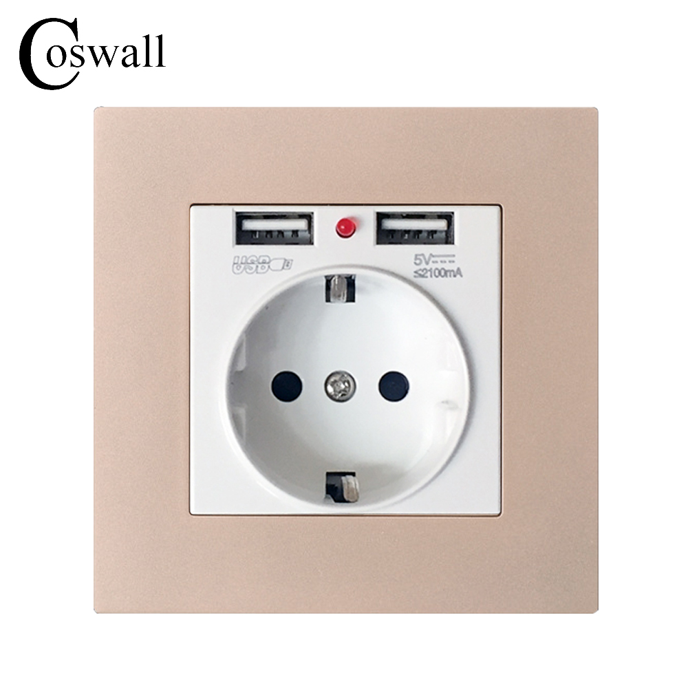Coswall Dual USB Charging Port 2.1A Wall Charger Adapter EU Socket Power Outlet PC Panel Gold Color