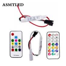 وحدة تحكم صغيرة بضوء الشريط led صغيرة صغيرة الحجم 14 مفتاح RF 3key 21key لـ WS2811 SK6812 WS2812B 6803 1903 مع جهاز تحكم عن بعد