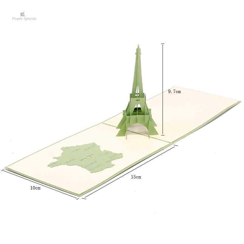 Kağıt Spiritz Lazer ünlü Kule 3d Kağıt Pop Up Zarflı Kart Boş