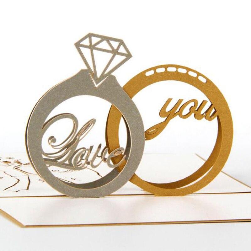 (10 шт./лот) Бесплатная доставка Diamond пара кольцо ручной работы 3D Киригами Pop Up Поздравительные открытки обручальное кольцо карты на День свят... ...