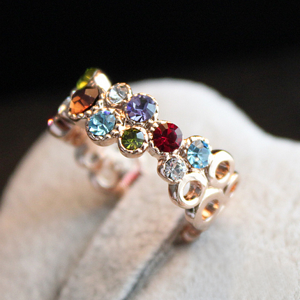 New USTAR  Gold color Colorful crystals women rings Anel Aneis High quality Fashion Jewelry  wholesale
