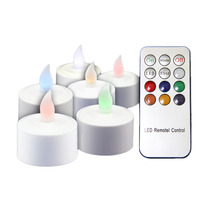 12pcs/set Rechargeable RGB LED Candle Colorful Flameless Tealight Candle Lamp with Remote Controller Home Decoration Party