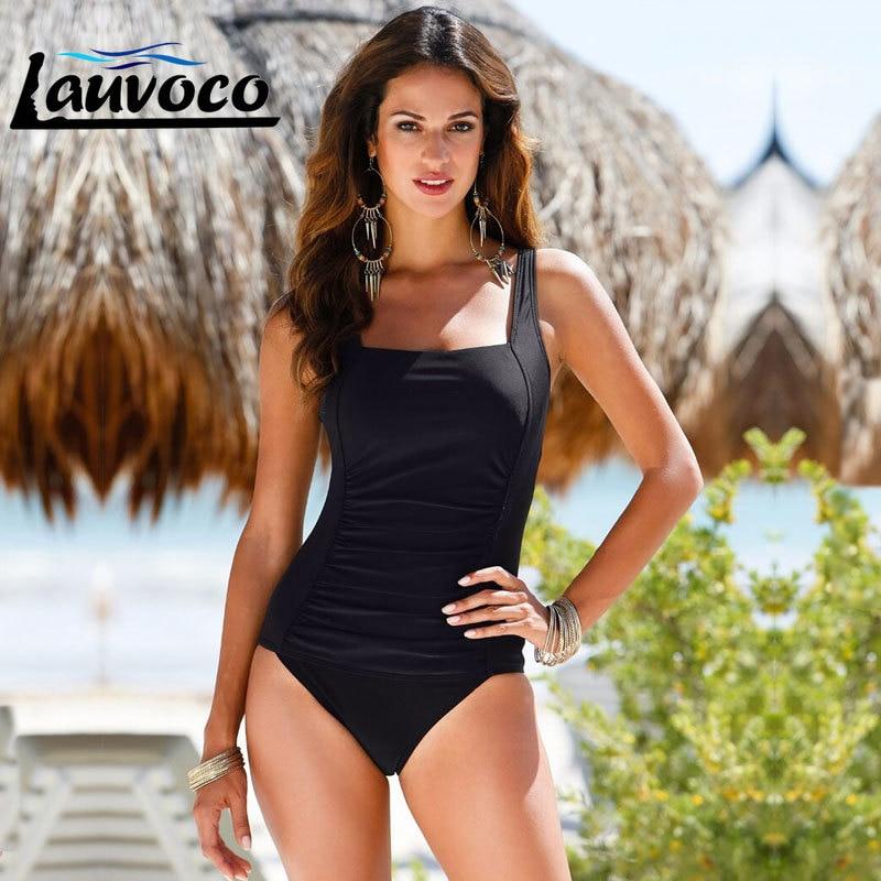4 Colors Solid Plus Size One Piece Swimsuit Women Swimwear Monokini Big Size Bodysuit Female Bathing