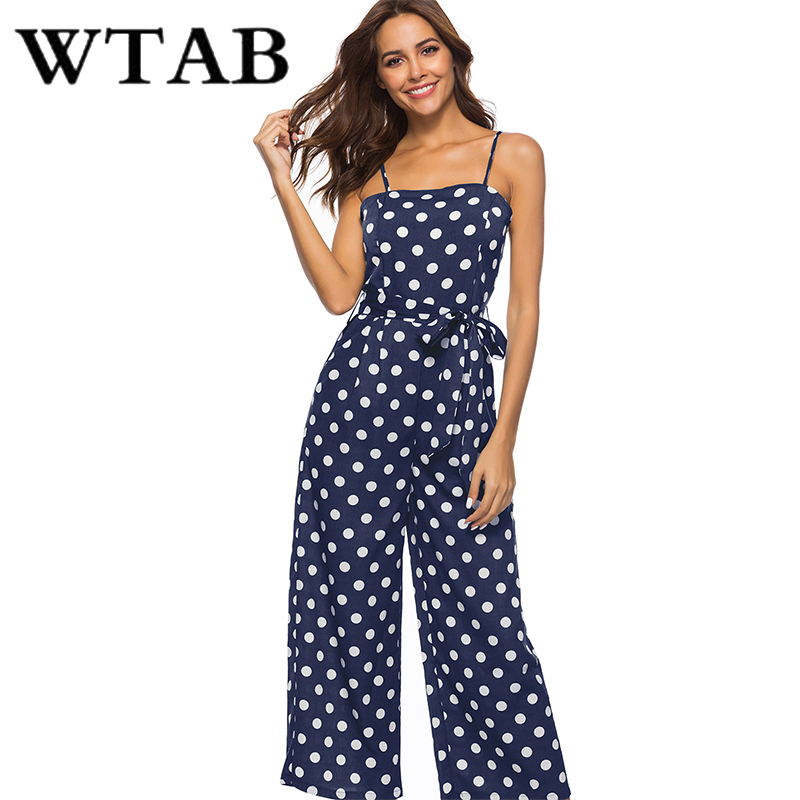 WTAB dot print summer jumpsuit 2018 strap off shoulder sleeveless beach women bodysuit bodycon belt female jumpsuit plus size