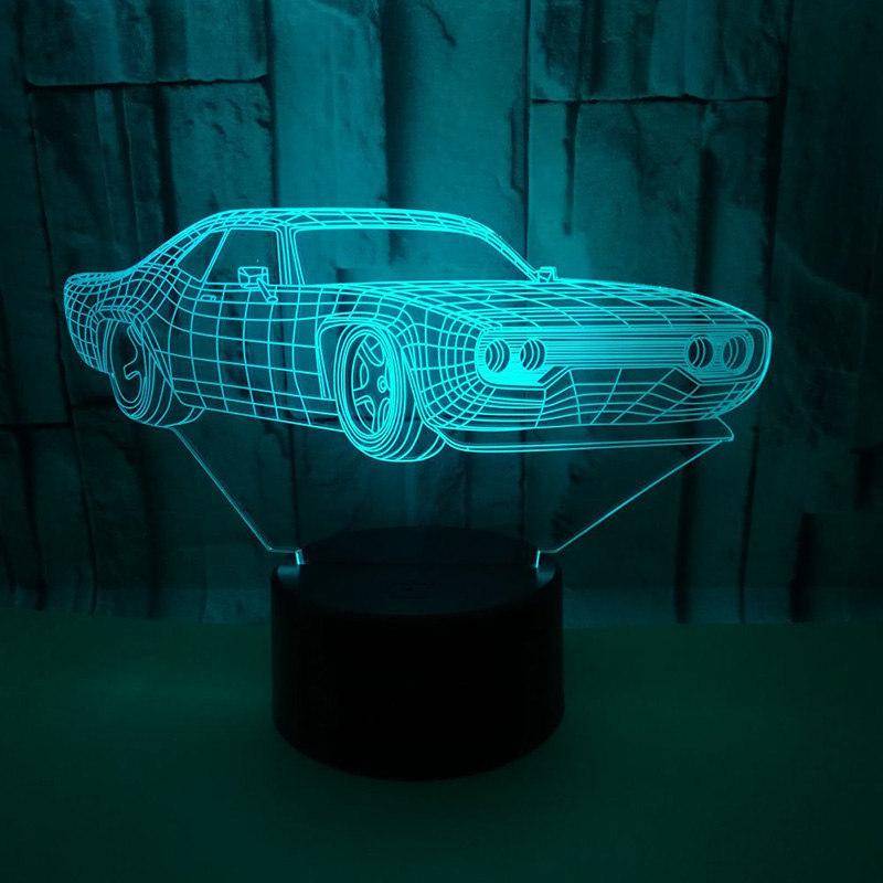 Creative 3D Night Light Supper Car Ferrari Table Lamp 7 Colors Changing Desk Lamp 3d Lamp Novelty Led Night Lights sitting room elephant shape night light 3d stereo vision lamp 7 colors changing acrylic usb bedroom bedside night light creative desk lamp