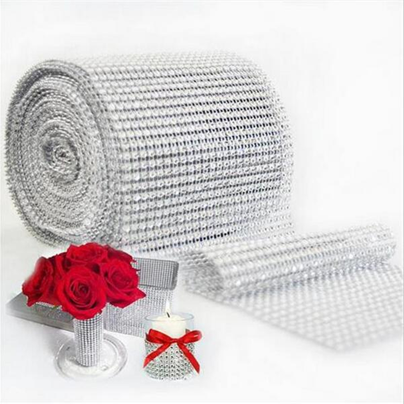 1 yard Gold Siver Mesh Trim Bling Diamond Wrap Roll Tulle Crystal Ribbons Sewing craft Party Wedding Decoration 7LS40
