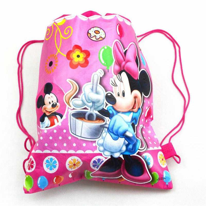 1 قطعة عالية الجودة ميكي و ميني الرباط أكياس طفل صالح القطن حقيبة سفر تخزين الملابس الأحذية حقيبة حقيبة المدرسة المحمولة