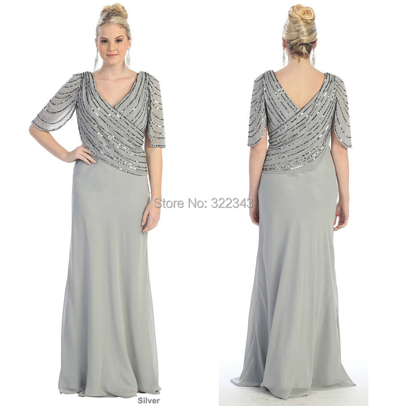 Fashion Silver Plus Size Long Evening Gown V Neck Beaded ...