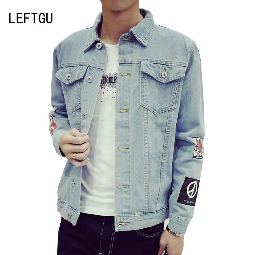 Mens Denim Jacket New High quality Fashion Jeans Jackets Slim streetwear Vintage Mens 2018 clothing black light blue Plus Size