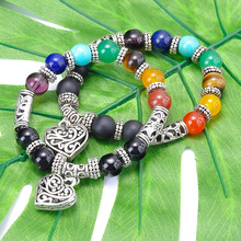SA SILVERAGE Colorful Yoga Bracelet Handmade Beaded Mens Heart Pendant Strand Bracelets Natural Stone Men Energy Trendy Handset
