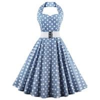 Retro Halter Sweetheart Neck Polka Dot Flare Dress