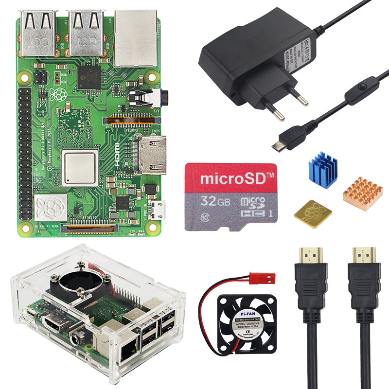 Raspberry Pi 3 Model B + Plus комплект 16 32 Гб sd-карта + вентилятор + 2.5A переключатель адаптер питания + радиатор + HDMI кабель для Raspberry Pi 3 B +