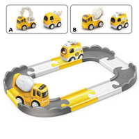 Cartoon Version Racing Track Mini Light Music Electric Cars Alloy Diecasts Track Car Toy Rail Car Kids For Toys Gifts