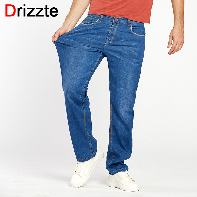 Drizzte Summer Mens Thin Lightweight Stretch Denim   Jeans   Casual Fit Loose Relax Trousers Pants Plus Size 33 34 36 38 40 42