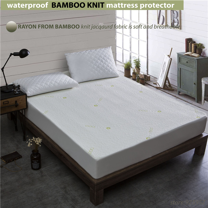 Super King Size 200x200cm Waterproof Beautiful Bamboo Jacquard Mattress Protector Cloth100 W009