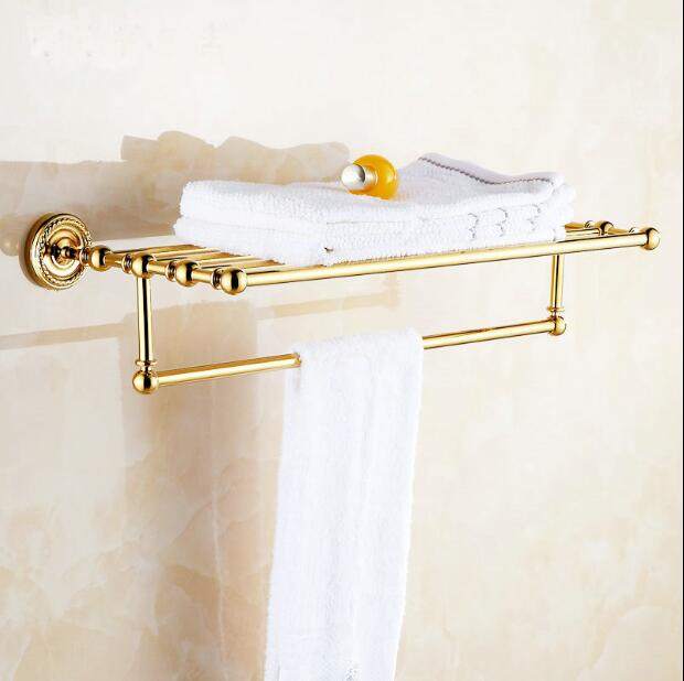 fashion High quality wall mounted brass material gold finished Bathroom Accessories hotel towel rack towel shelves jomoo high quality brass alloy towel bar set rack tower holder hanger bathroom wall mounted hotel shelf chrome finish design